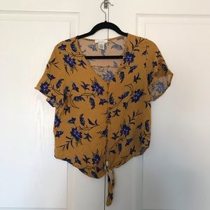 Yellow Floral button-down tie front shirt